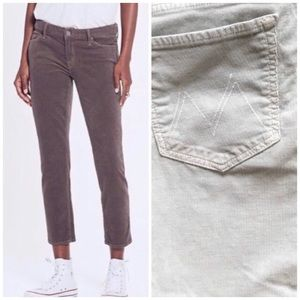 MOTHER The Looker Crop Blue Corduroy Pants